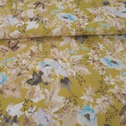 Batiste de coton jaune fleurs et feuilles