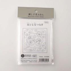 Coupon tissu sashiko blanc pré-imprimé mouton et shippô