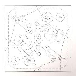 Coupon tissu sashiko blanc pré-imprimé oiseaux et fleurs de prunier