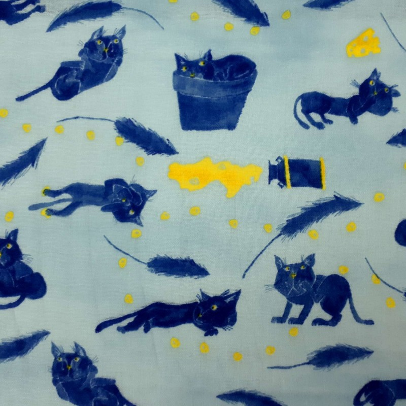 Light blue Kokka double gauze fabric with cats and cheese pattern