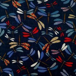 Tissu japonais libellules colorées sur fond indigo