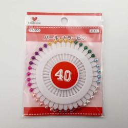 Pack de 40 épingles à tête ronde colorée