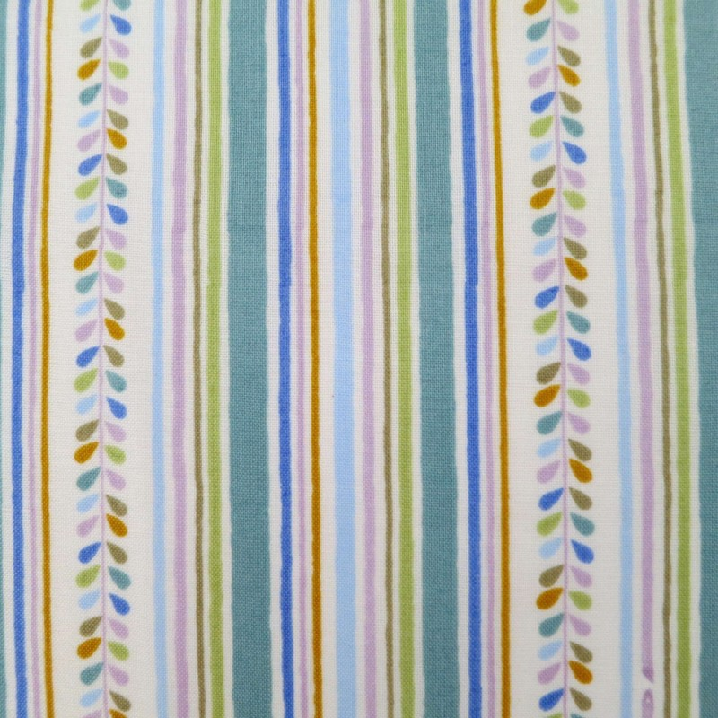 Tissu japonais blanc rayures bleues, vertes, mauves, orange-marron