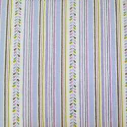 Tissu japonais blanc rayures mauves, vert-jaune, marron