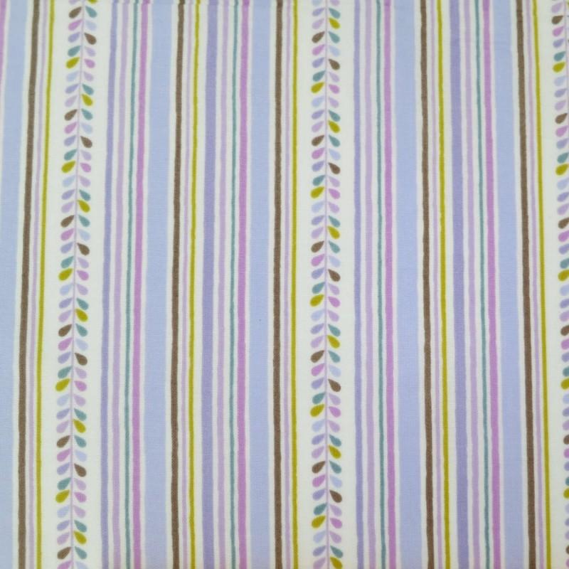 Tissu japonais blanc rayures et feuilles mauves moutarde marron