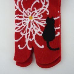 Chaussettes tabi rouges fleurs et chat pointure 35 à 38