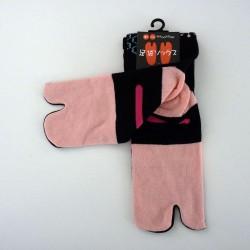 Chaussettes tabi noires fausses claquettes lapins et flocons pointure 35 à 38
