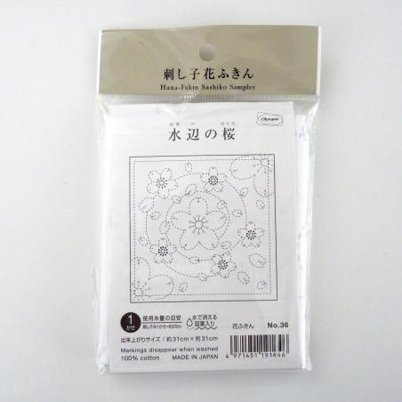 coupon sashiko blanc pré-imprimé fleurs de cerisier