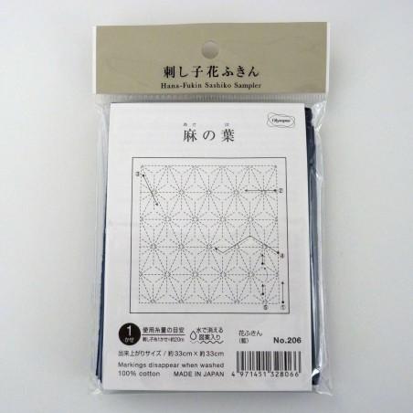 Coupon tissu sashiko bleu nuit indigo pré-imprimé asanoha