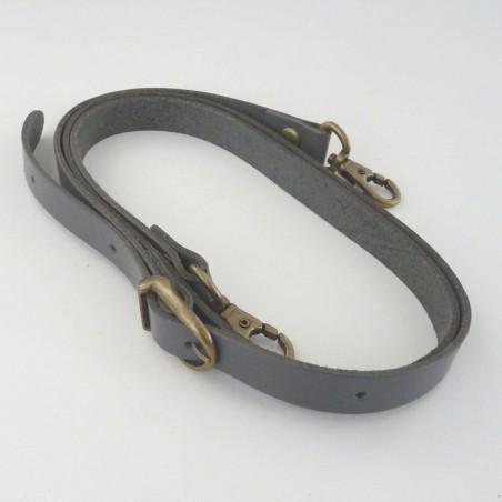 Anse bandoulière gris foncé cuir véritable réglable 105 à 125cm