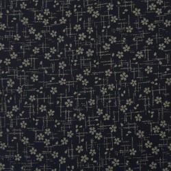 Tissu japonais bleu nuit fleurs de cerisier et traits