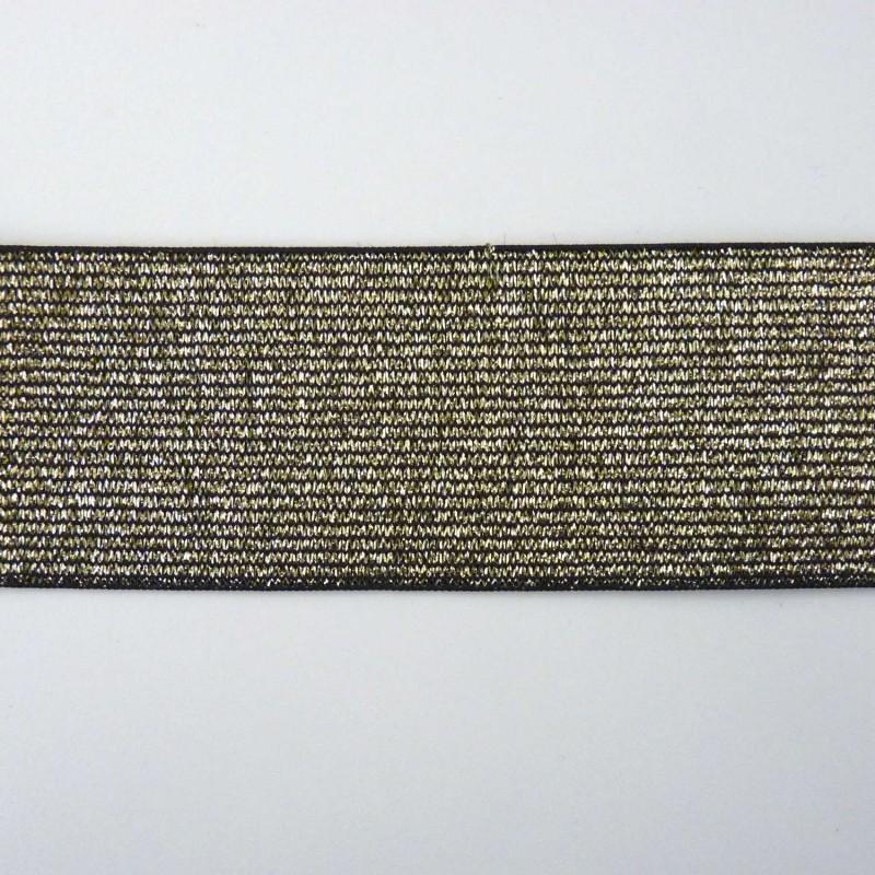 Elastique lurex doré sur fond noir 40mm large vendu au mètre