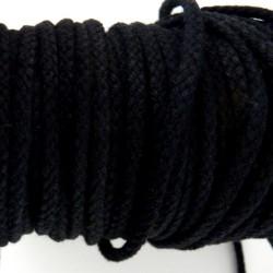 Cordon tressé noir diamètre 4mm au mètre