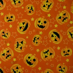 Tissu orange Halloween citrouilles