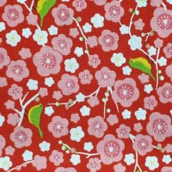 Tissu japonais rouge fleurs de prunier et oiseaux