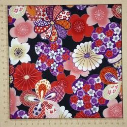 Tissu japonais noir fleurs traditionnelles colorées