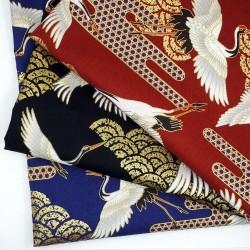 Tissu rouge brun vagues et grands grues