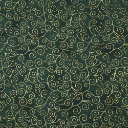 Dark green fabric gold arabesque and small hearts