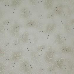 Tissu gris faux uni arabesques et coeurs argentés