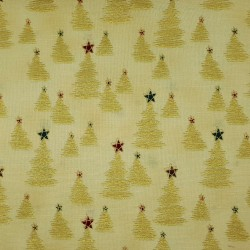 Tissu Noël jaune sable sapins dorés