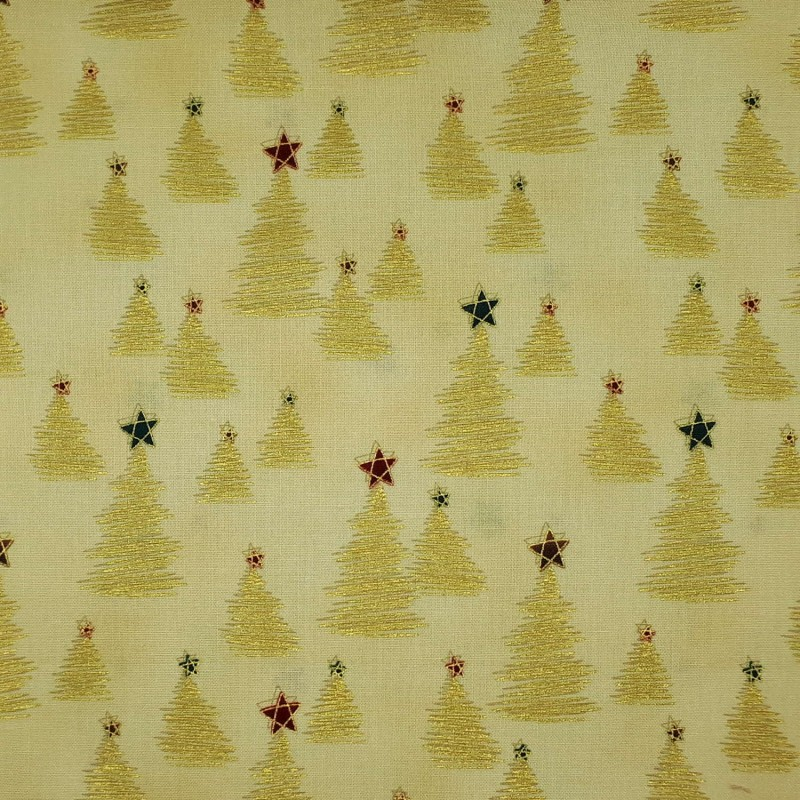 Christmas tree fabric beige