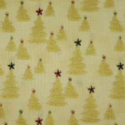 Christmas tree fabric beige with gold color