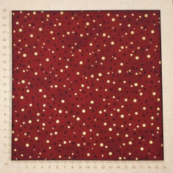 Dark red fabric with gold and wine red dots