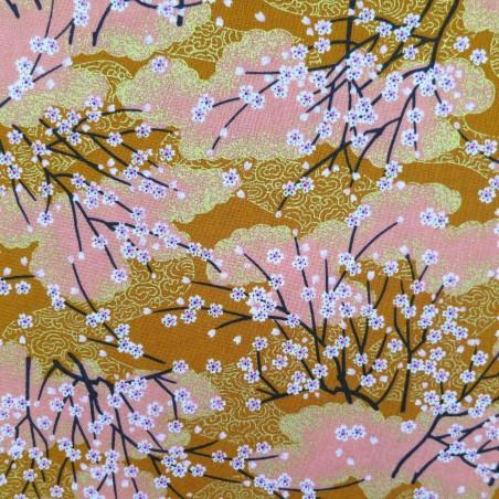 Tissu japonais ocre et saumon petits cerisiers