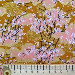 Tissu japonais coton fleurs de cerisier ocre et saumon