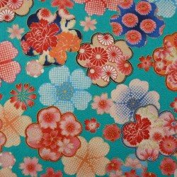 Tissu turquoise gaufré motifs de fleurs avec du doré