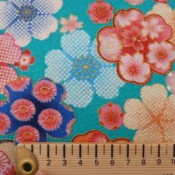 tissu japonaise fleurs de cerisier fond turquoise