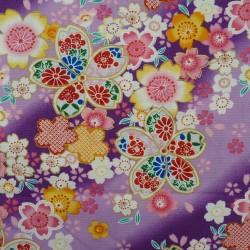 Tissu violet, rose et jaune fleurs de cerisier
