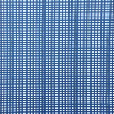 Tissu maillot de bain bleu électrique carreaux blancs