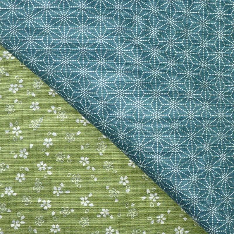 Tissu japonais réversible pour furoshiki fleurs de cerisier vert et bleu canard