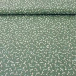 Tissu japonais libellules vert pâle