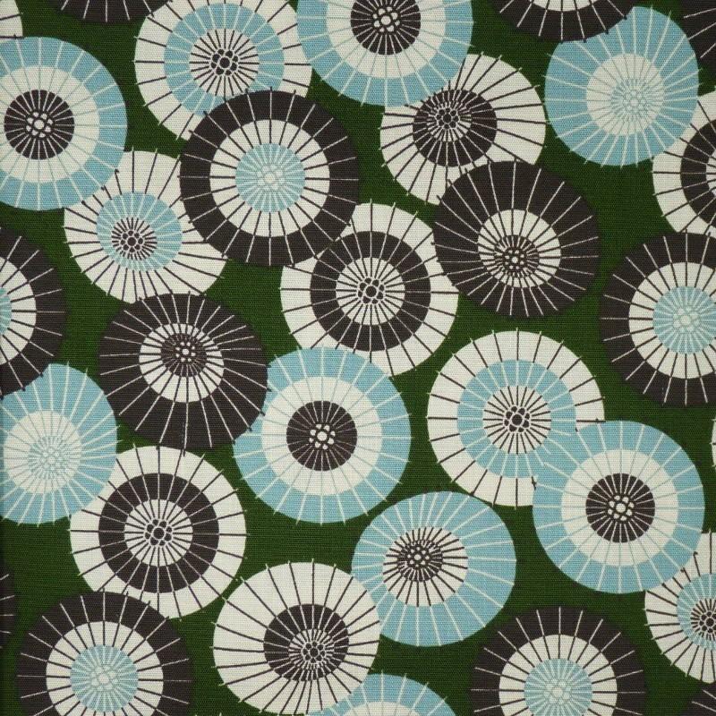Tissu japonais vert motifs d'ombrelles