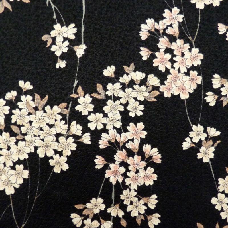 Tissu noir gaufré motifs de petites fleurs de cerisier
