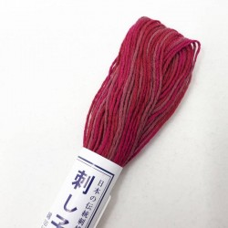 Fil sashiko mix rouge framboise vieux rose 20m