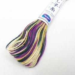 Fil sashiko mélangé violet prusse jaune blanc 20m