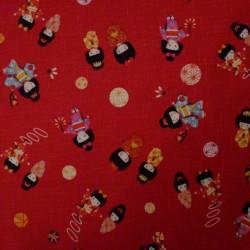 Tissu rouge petites filles en kimono
