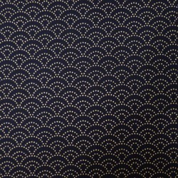 Tissu bleu nuit petit seigaiha points