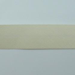 biais polycoton ivoire uni 20mm plié