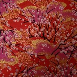 Tissu rouge, rose et doré...