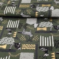 tissu Echino coton lin kaki zèbre hibou lémurien cerf pour sacs et accessoires