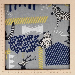 Echino grey cotton linen fabric with zebras, deer, lemurs and owls