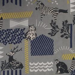 Echino grey cotton linen fabric with zebras, deer, lemurs and owls