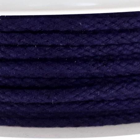 Cordon tressé bleu foncé diamètre 4mm au mètre