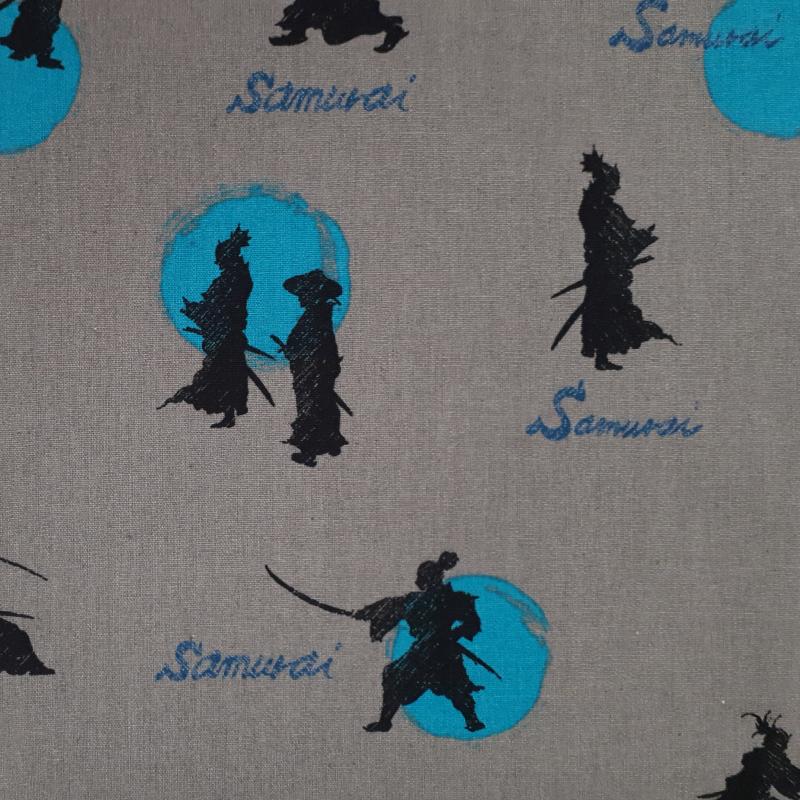 Tissu coton lin gris samuraï