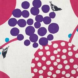 tissu Echino coton-lin oiseaux et baies fuchsia et violet