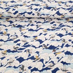 tissu japonais en coton lin avec chats surfant sur la vague